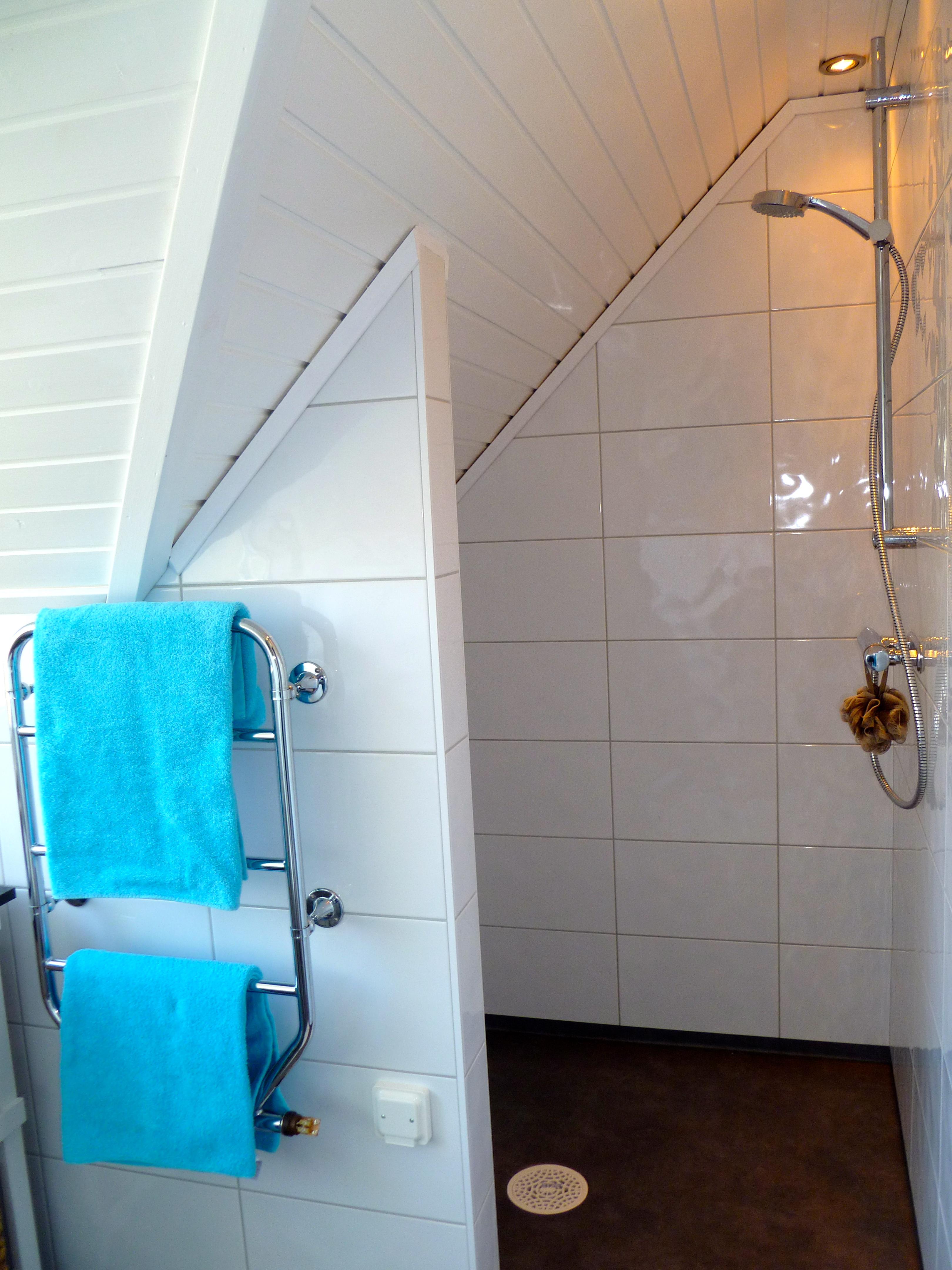 Vitt Furutak : Duschen sitter under snedtaket Hor har vi byggt en extra vogg som